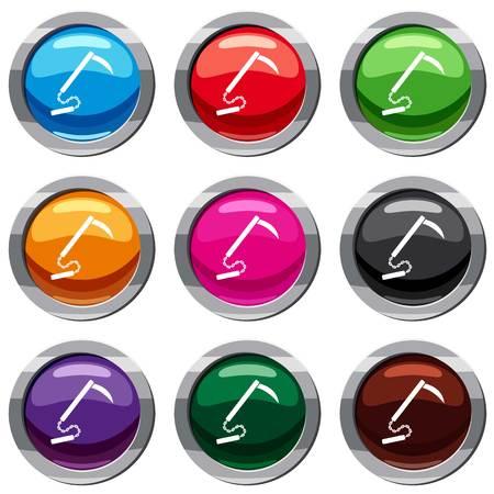 Kusarigama 화이트 절연 아이콘을 설정합니다. 9 아이콘 컬렉션 벡터 일러스트 레이션