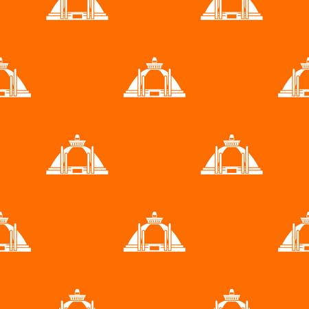 Polonnaruwa, 고 대 stupa 패턴 모든 디자인에 대 한 오렌지 색상에서 원활 하 게 반복합니다. 벡터 기하학적 그림