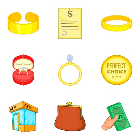 Gold things icons set. Cartoon set of 9 gold things vector icons for web isolated on white background