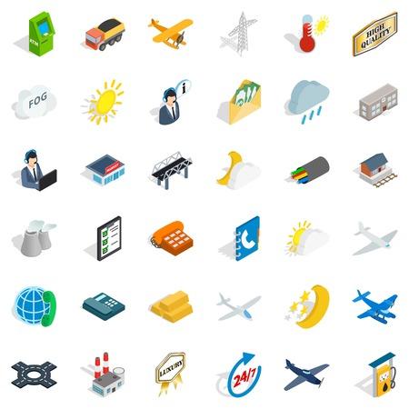 Station icons set, isometric style Illustration
