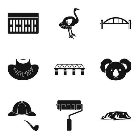 Exterior of bridge icons set, simple style