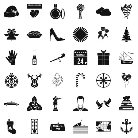 Decoration icons set. Simple style of 36 decoration vector icons for web isolated on white background
