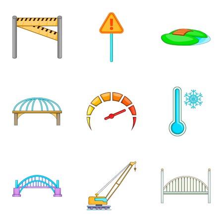 Bridge erection icons set, cartoon style
