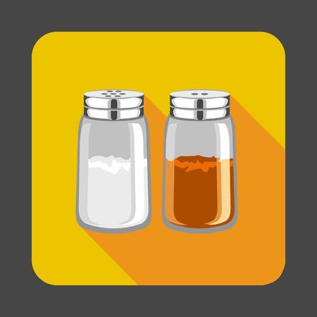 Salz, Pfeffer Konzept Hintergrund, Cartoon-Stil Standard-Bild - 86640139
