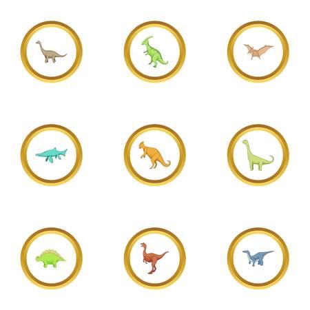 triceratops: Dinosaur icons set, cartoon style