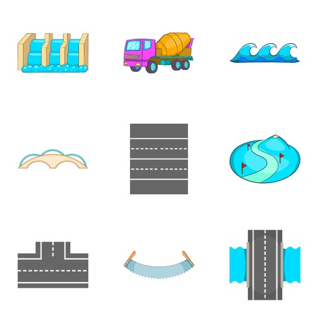 Way icons set. Cartoon set of 9 way vector icons for web isolated on white background