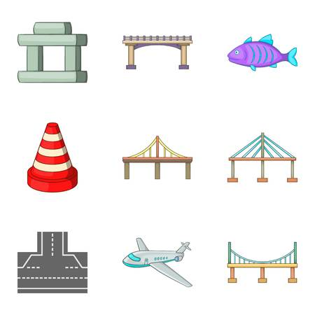 Suspended bridge icons set. Cartoon set of 9 suspended bridge vector icons for web isolated on white background