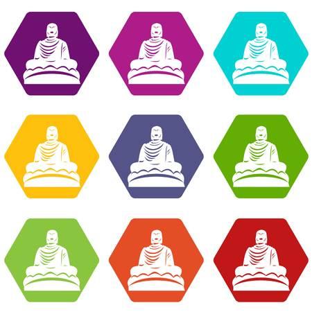 Buddha statue icon set color hexahedron