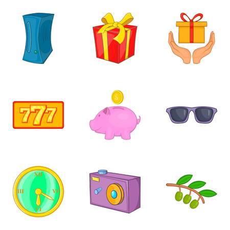 Jackpot icons set. Cartoon set of 9 jackpot vector icons for web isolated on white background