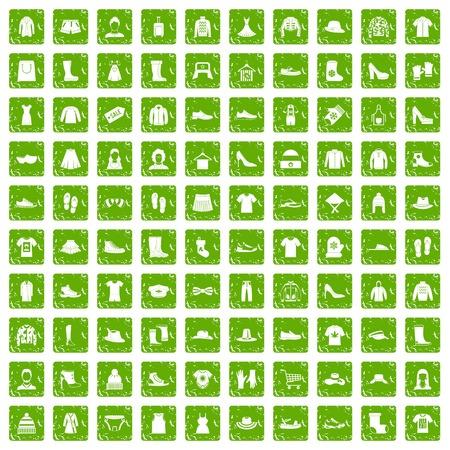 100 iconos de trapos conjunto grunge verde