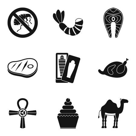 artefact: Spiritualistic icons set, simple style