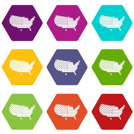 アメリカ地図アイコン設定色の六角形  イラスト・ベクター素材