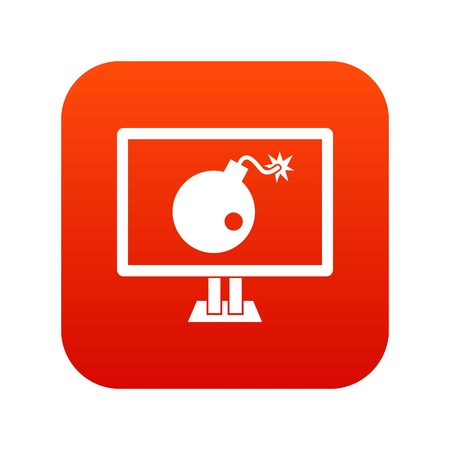 Bomb on computer monitor icon digital red