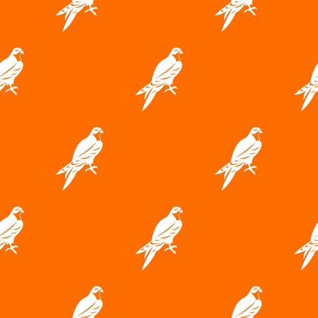 Falcon pattern repeat seamless in orange color for any design. Vector geometric illustration