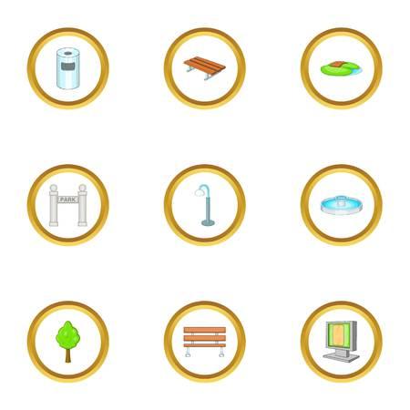 Jeu d'icônes de paysage de jardin. Ensemble de style dessin animé de 9 icônes vectorielles de paysage de jardin pour la conception de sites Web Banque d'images - 86640490