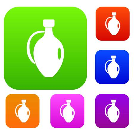 earthenware: Clay jug set icon color in flat style isolated on white. Collection sings vector illustration