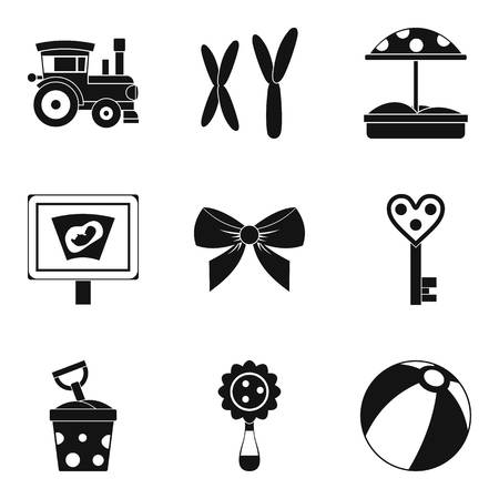 car wash: Street toy icons set, simple style