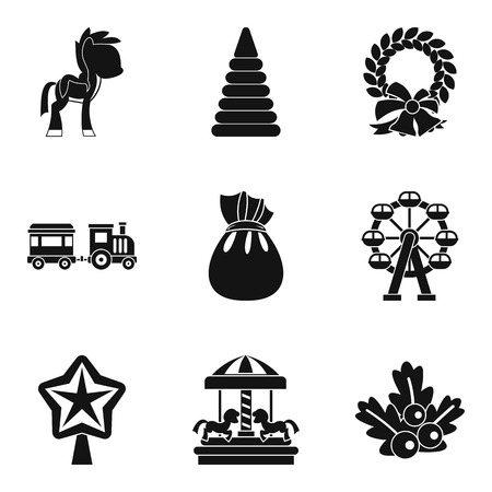 car wash: Children carousel icons set, simple style