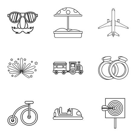 car wash: Boarding school icons set, outline style Illustration