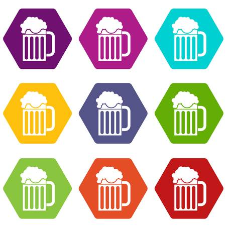 Beer mug icon set color hexahedron Illustration