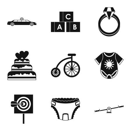 car wash: Born with silver spoon icons set, simple style