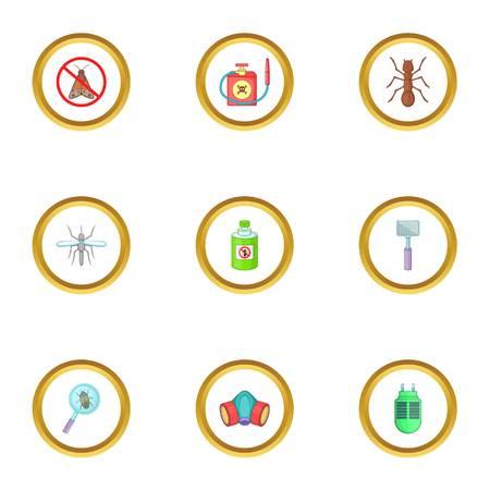 Home pest control service icons set, cartoon style