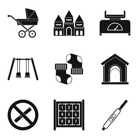 car wash: Walk with child icons set, simple style