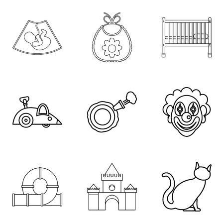 car wash: Calash icons set, outline style