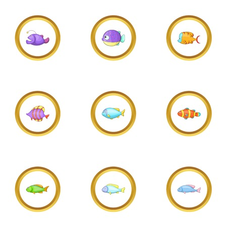 clown fish: Sea fish icons set, cartoon style