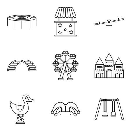 Conjunto de iconos de comunidad para niños, estilo de contorno Foto de archivo - 87013070