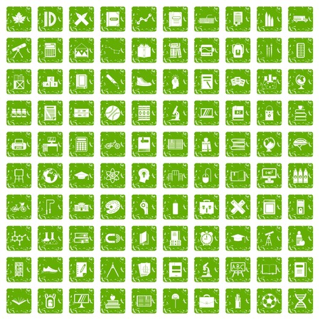 girl laptop: 100 school icons set grunge green Illustration