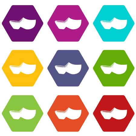 Clogs icon set color hexahedron