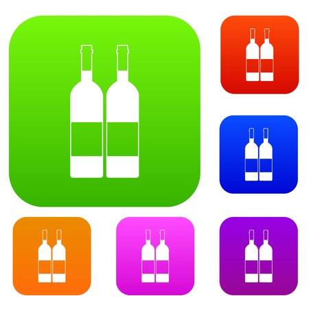 Two bottles of wine set color collection