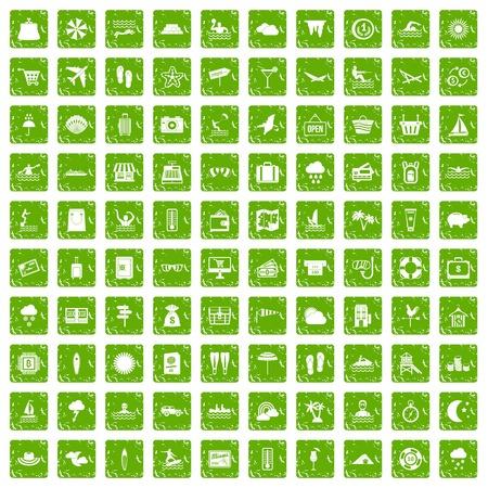 100 icônes de la station balnéaire set grunge vert Banque d'images - 86957484