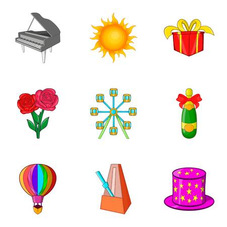 Theatrical evening icons set, cartoon style