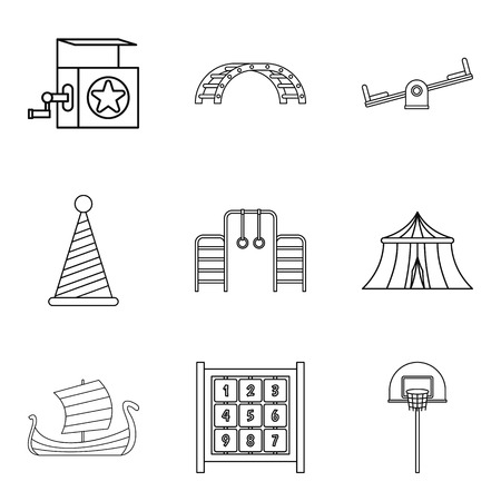 car wash: technical toy icons set, outline style