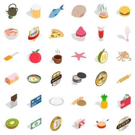 Pizza icons set, isometric style Illustration