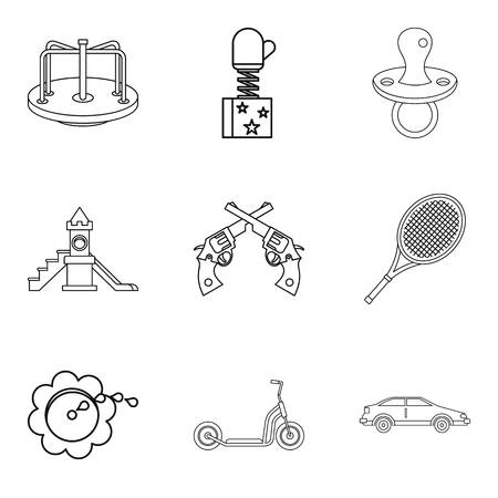 car wash: Expensive toy icons set, outline style Illustration