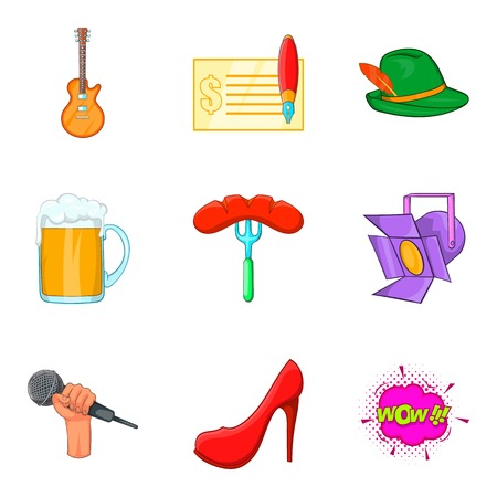 Beer party icons set, cartoon style