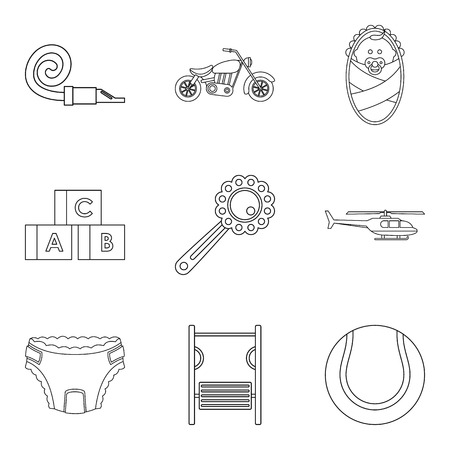 car wash: Distract child icons set, outline style Illustration