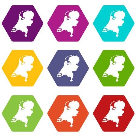 Holland map icon set color hexahedron Illustration