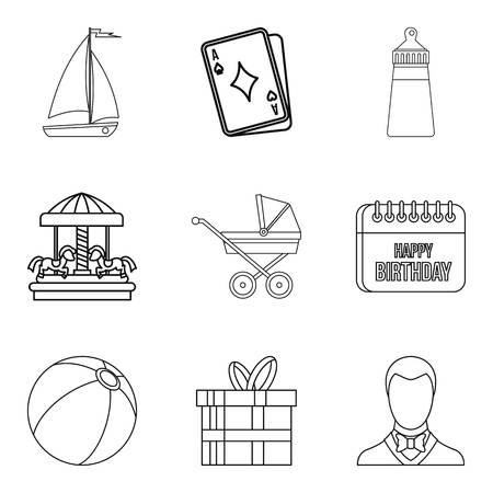 car wash: Baby carriage icons set, outline style