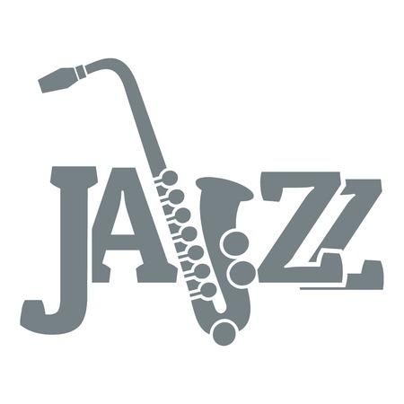 Saxophone logo, simple gray style