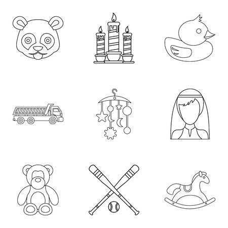 happy family: Protection icons set, outline style