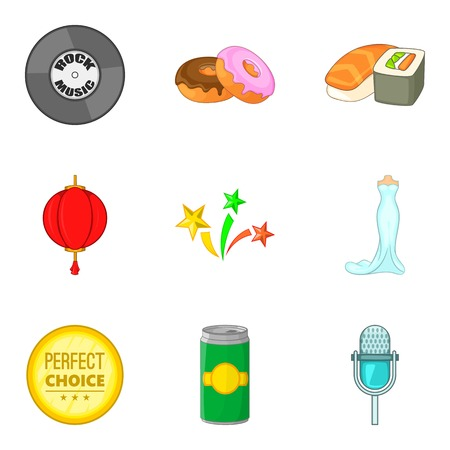 Food for party icons set, cartoon style