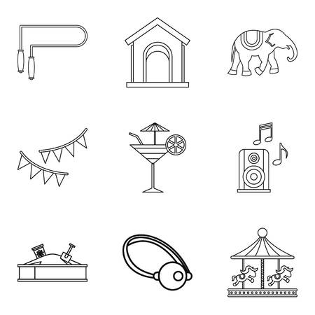 car wash: Rest from child icons set, outline style