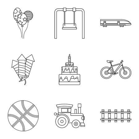 car wash: Summer toy icons set, outline style Illustration