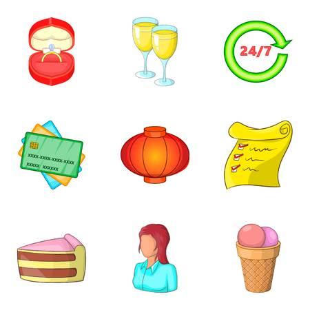Ceremony icons set, cartoon style Stock Illustratie