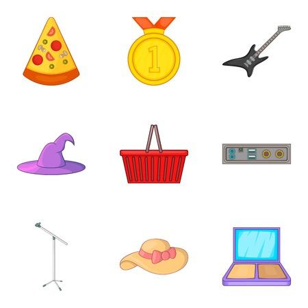 Street concert icons set, cartoon style