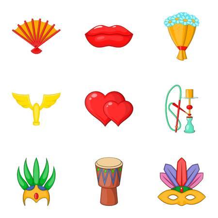 Rite icons set, cartoon style
